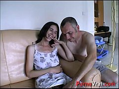 Taken by surprise, she squirts all over the cou...
