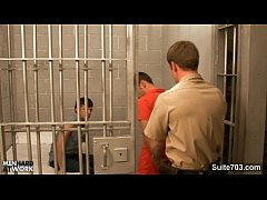 Horny gays fuck in threesome in prison