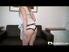 Cutie takes off her clothes on the couch