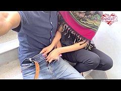 Desi hijab girl out door handjob and blowjob.