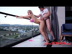 Penny Love fucks Aaron Barbosa in balcony while...