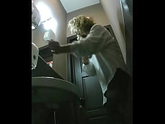 Girls piss in the toilet of the cafe