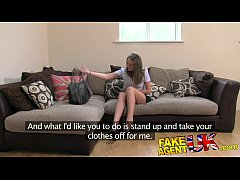 FakeAgentUK Sexy legs Brit chick goes to porn c...