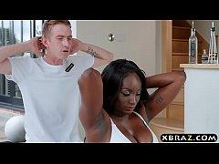 Ebony MILF gets her pink pussy stuffed by a big...