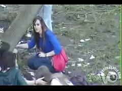 Group of desperate German girls enjoys peeing i...