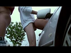 Facial cum on a girl through a car window in pu...
