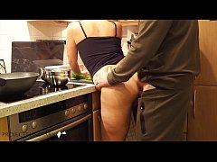 milf preparing dinner quick kitchen fuck - proj...