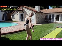 Teenie blonde Kate Bloom playing Slip and Slide...
