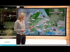 Weather woman Cecilie Hother of TV2 Danmark jer...