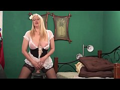Big Ass Blonde Milf rides her Huge Dildo and Sq...