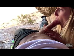 Outdoor public blowjob in a cave