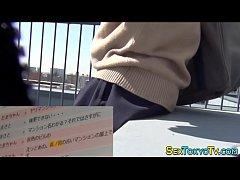 Fingered japanese teen in uniform