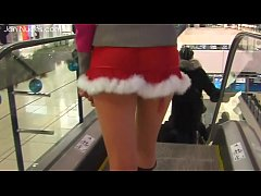 Young miniskirt without panties in the supermarket