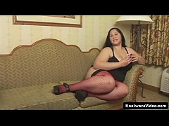 Fat Latina with sexy red stockings is horny for...