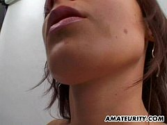 Amateur GF with big tits sucks and fucks with f...