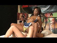 Nasty black model Ivy Sherwod gets her pussy de...