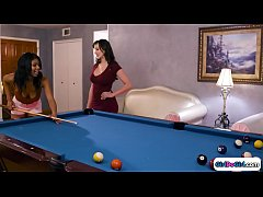 Ebony gets pool lessons from her gfs sis