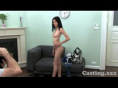 Casting HD Raven hair amateur gets spunk in the...