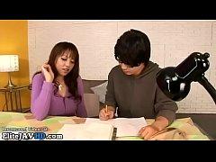 Japanese home teacher in stockings provokes stu...