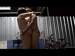 Playing with his cock in the garage. SAN349
