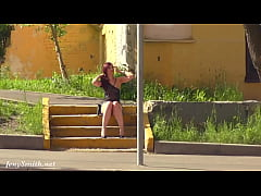 Summer Walk. Jeny Smith walking in public with the transparent dress and no panties