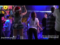 She wore only a tinsel at club! Public flashing
