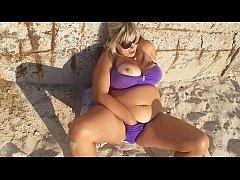 Hot milf masturbation on beach. So horny outside