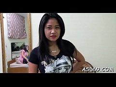 Horny thai chick spreads her thighs to get love...
