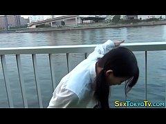 Horny japanese flashing