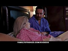 FamilyStrokes - Busty Milf Caught Husband Fucki...