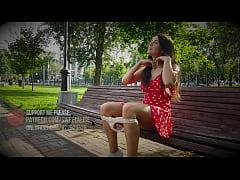 Flashing at public and upskirt walking girl without panties
