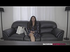 Natural babe Leya facialized in casting after h...