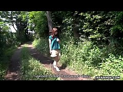 Busty Asian hiker gets bound and fucked to a cr...
