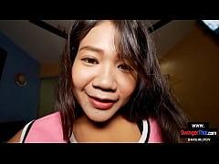 Amateur Thai teen cutie enjoys sex with a big c...