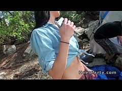 Two amateur babes foursome party outdoor at cam...