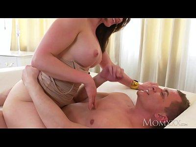 MOM Big tits brunette Aussie Milf takes big coc...