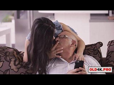 busty girl fucks grandpa