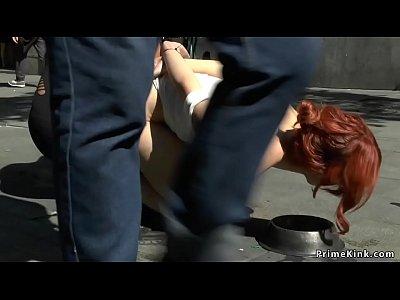Redhead slut humiliated in public lezdom