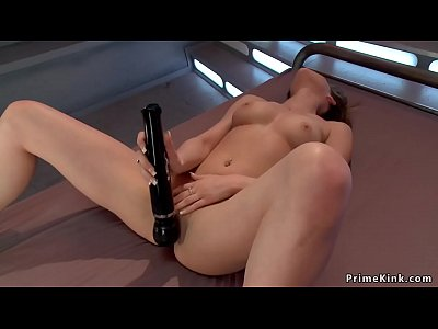 Spinner with nice pair of tits fucks machine
