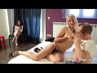 She brings a pornstar to fuck her husband and fingers watching it