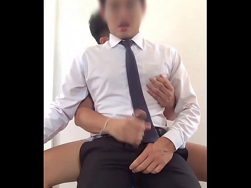 Asian office man jerking off and cum control