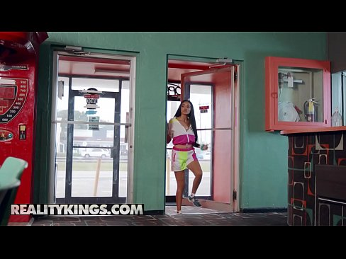 Gorgeous ebony (Julie Kay) rides hard cock at bowling centre - Reality Kings