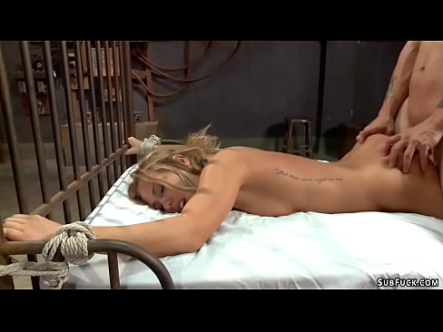 Bound blonde fucked deep in her ass