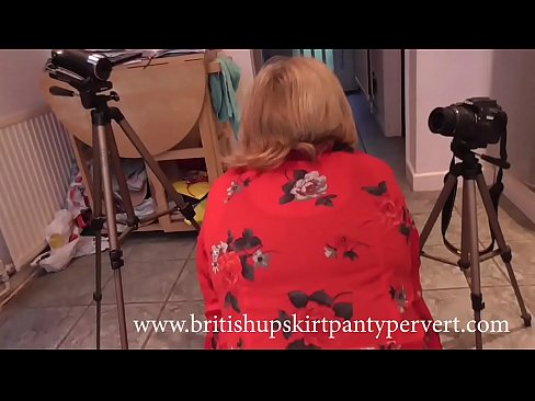 British mature wife and mother Rosemary gives upskirt panty views before swallowing a huge load of spunk in her own kitchen