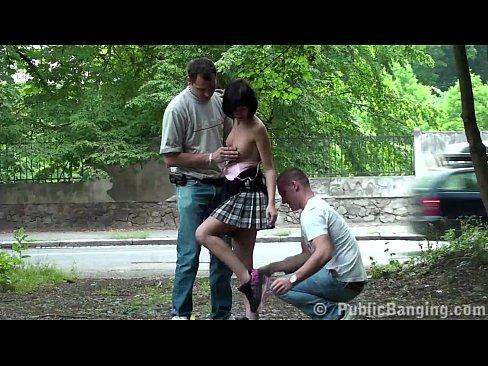 Petite teen girl PUBLIC street sex gangbang