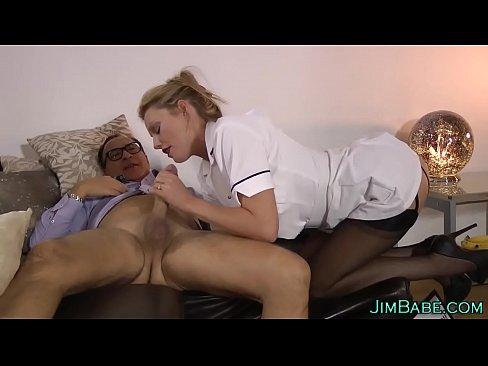 Brit nurse in stockings