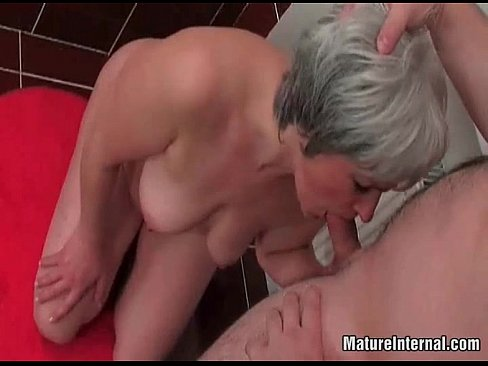 Old mature slut sucks some young cock