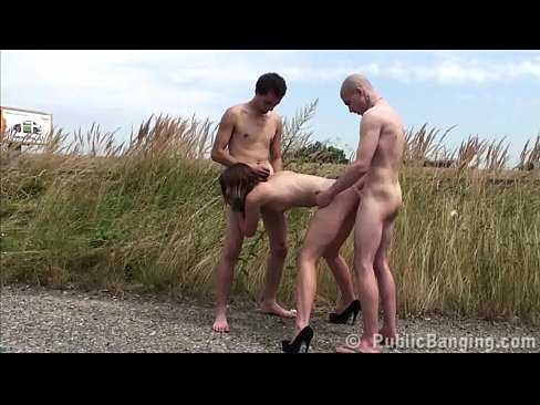 Nude public sex threesome with a hot young girl and 2 guys with big cocks fucking her in the middle of a street with a foreplay and exciting oral deep throat blowjob with vaginal pussy sexual intercourse pounding her wet cunt hard and cum on her face