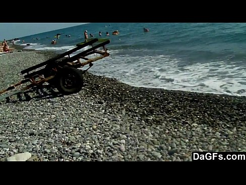 Filming hot slut on the beach