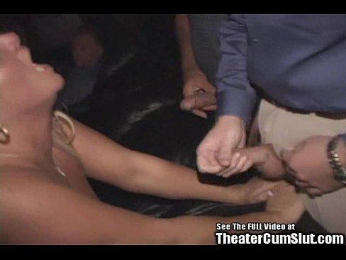 Birthday MILF Gangbanged in Porno Theater!